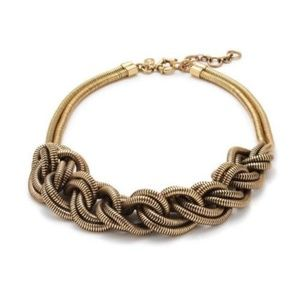 J Crew Braided Brass Rope Necklace Choker Chunky